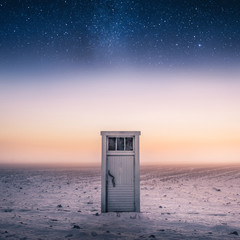 Magical and imagination scene with door and stars at night time