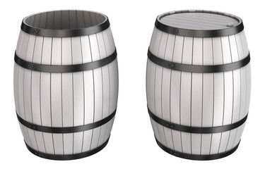 Barrels white wooden with hoops, open and closed. 3d image isolated on white.