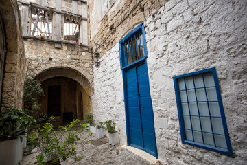 Medieval street of old town of Rhodes, Greece.