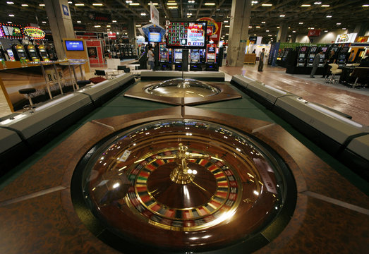 Roulette wheel is displayed during Global Gaming Expo Asia in Macau