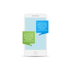 Mobile phone with messaging icon. Flat design vector illustration