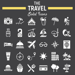 Travel solid icon set, tourism symbols collection, transportation vector sketches, logo illustrations, filled pictograms package isolated on black background, eps 10.