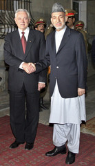 Afghan President Hamid Karzai shakes hands with Lithuania President Valdas Adamkus at the presidential palace in Kabul