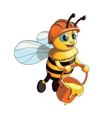 Cute Friendly Bee with honneycomb bucket