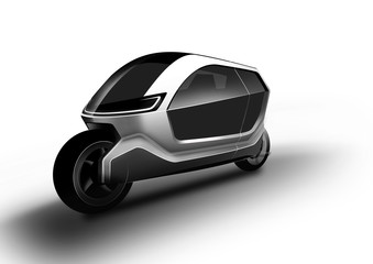 Motorbike is innovative smart and small vehicle for two people with the folding roof suitable to the city.