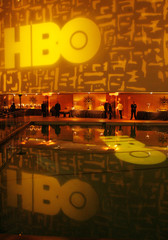 HBO network logo is projected on wall and reflected in pool of the Beverly Hilton prior to an after-party to celebrate Golden Globes in Los Angeles, California