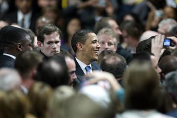 U.S. President Barack Obama delivers his speech at the Rhenus sports arena in Strasbourg