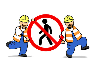 Verbot für Fußgänger als Verkehrsschild