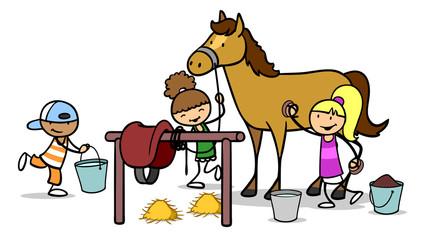 Kinder striegeln Pferd auf Reiterhof