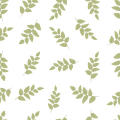 Seamless decorative template texture with green leaves. Seamless stylized leaf pattern.