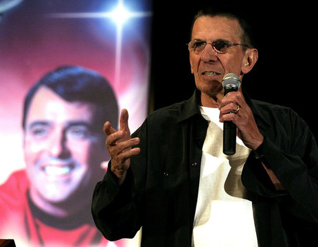 """Nimoy speaks at the """"Beam Me Up Scotty...One More Time The James Doohan Farewell Star Trek convention & ..."""