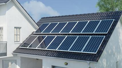 Photovoltaik auf Dach vom Haus für Sonnenenergie