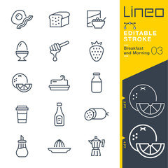 Lineo Editable Stroke - Breakfast and Morning outline icons.