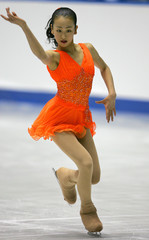 Mao Asada performs her short programme of the women's singles at Japan Figure Skating Championships 2005 in Tokyo