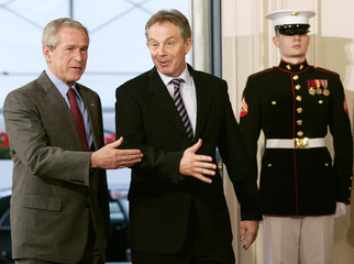 US President Bush welcomes Britain's Prime Minister Blair to the White House in Washington