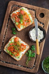 salmon, cucumber and cream cheese toasts