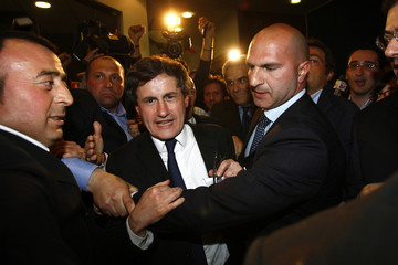 Gianni Alemanno of the right-wing National Alliance party celebrates his victory in the election for Rome's mayor