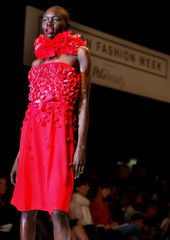 Model Alek Wek wears an outfit by British designer Betty Jackson during her Spring/Summer 2004 show ..
