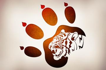 Иллюстрация по следам животных. Тигр.