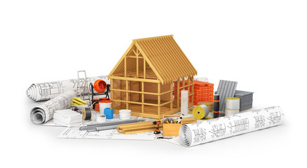 Construction materials, building of a wooden frame placed on the rolls of drawings isolated on white. 3D illustration