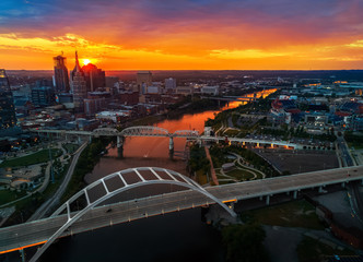 Fototapete - Nashville skyline from drone