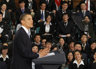 U.S. President Obama speaks during a town hall-style meeting with future Chinese leaders at Museum of Science and Technology in Shanghai