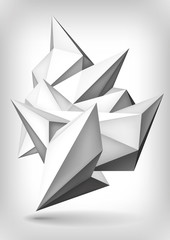 Volume geometric shape, 3d crystal, abstraction low polygons object, vector design form