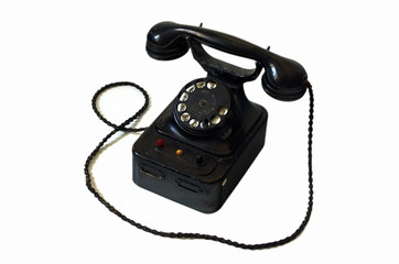 Old retro telephone isolated on white background.Communication concept for call center.