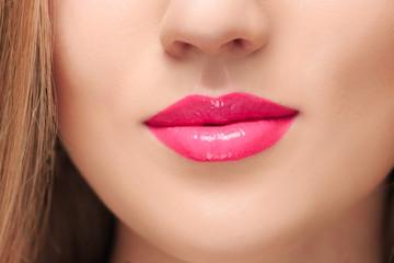 Foto op Plexiglas Beauty The sensual red lips close up