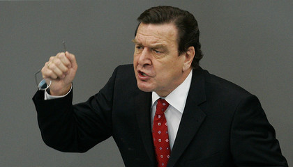 German Chancellor Gerhard Schroeder gives a speech at the Bundestag in Berlin.