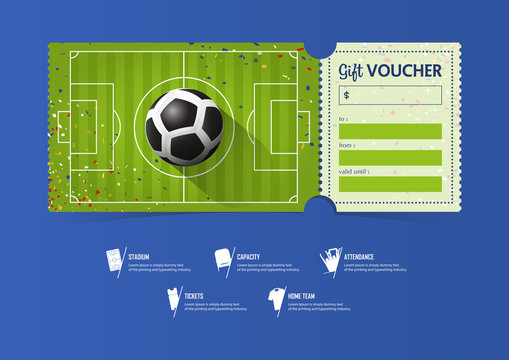 Tickets template design for football or soccer match. Gift vouchers or certificate coupons. Vector illustration.