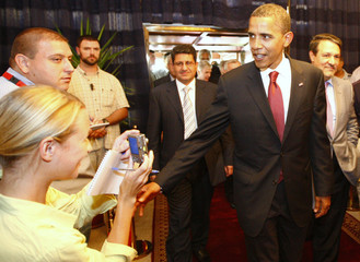 US Democratic presidential candidate Obama arrives at the office of Iraq's PM Maliki in Baghdad