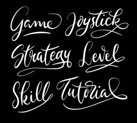 Tutorial and game strategy hand written typography. Good use for logotype, symbol, cover label, product, brand, poster title or any graphic design you want. Easy to use or change color