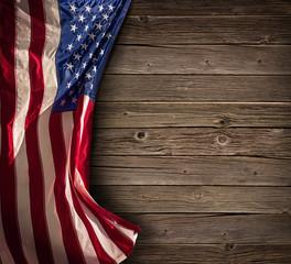 Patriotic American Celebration - Aged Usa Flag On Vintage Wood