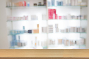 blurry medicine cabinet and store medicine and pharmacy drugstore for background with Perspective wood