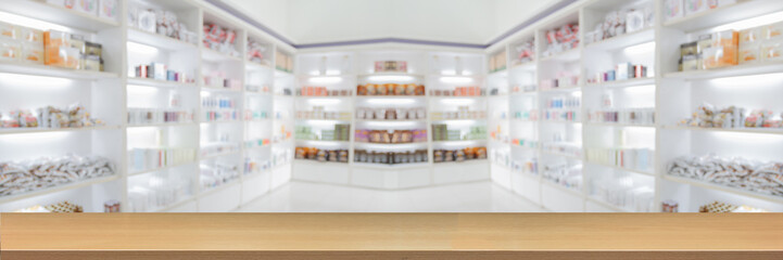Poster Apotheek panorama on medicine cabinet and store medicine and pharmacy drugstore for Blurry background with Perspective wood