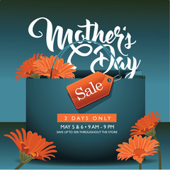 Mothers Day sale shopping bag background design with daisies and copy space. AI 10 vector.
