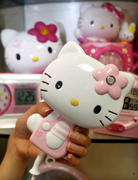 A Hello Kitty shaped hair dryer is displayed before clocks at a Hello Kitty shop in Tokyo January 23..