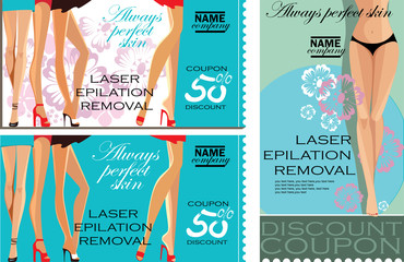 set of vertical and horizontal discount coupons for beauty salon, laser epilation, removal, beauty female legs, vector promotional material