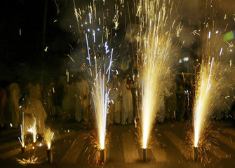 People display fireworks to celebrate Supreme Court's verdict on suspended Chief Justice Chaudhry in Multan