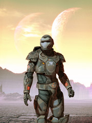 Wall Mural - Futuristic soldier and moons