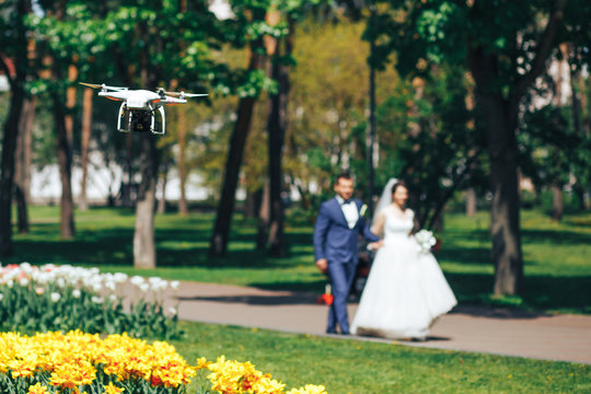 UAV unmanned helicopter, shooting a wedding video with the quadcopter