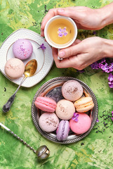 Wall Mural - Sweet french macaroons and tea