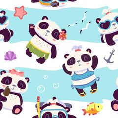vector cartoon style cute girl panda seamless pattern