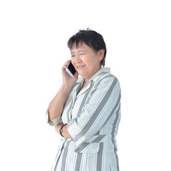 Elderly Asian Business woman phoning isolated on white background, clipping path inside
