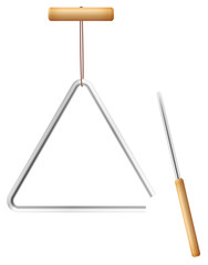 Triangle on a string and metal beater with wooden handle - musical instrument in the percussion family - isolated vector illustration on white background.