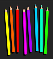 Neon pencil set, loosely arranged - fluorescent crayons for dynamically and glary colored drawings - isolated vector illustration on gray background.