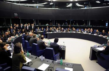 France's President Nicolas Sarkozy meets European Parliament group presidents at the European Parliament in Strasbourg