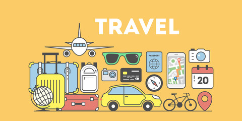 Travel concept illustration. Signs and icons on orange background.