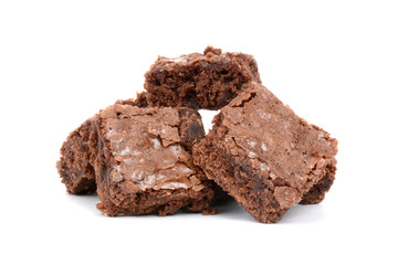 baked brownies on a white background